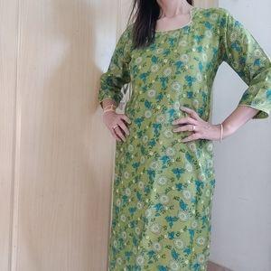 Tusser silk long kurta with lining (size M)